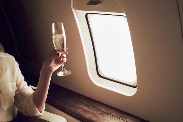 Private Jet, Woman, Champaigne